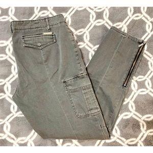 MICHAEL KORS Gray Ankle Zip Skinny Pants